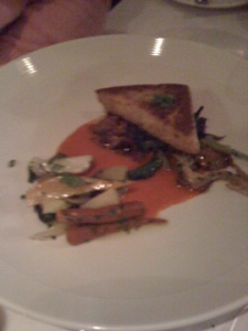 crispy yelow corn polenta w/ winter vegetables, forest mushrooms, carrot jus