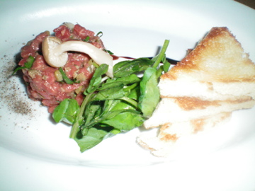 Spicy Steak Tartare: Pickled hon Shimenji Mushrooms and Watercress
