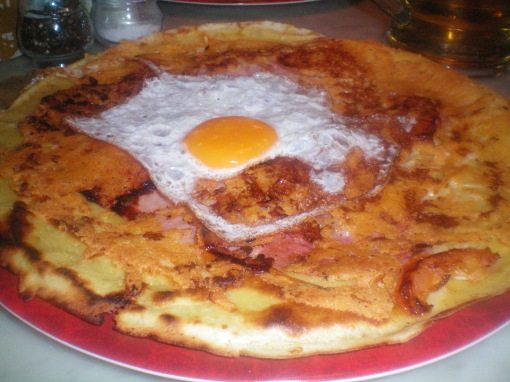 pancakes with salami, onion, egg