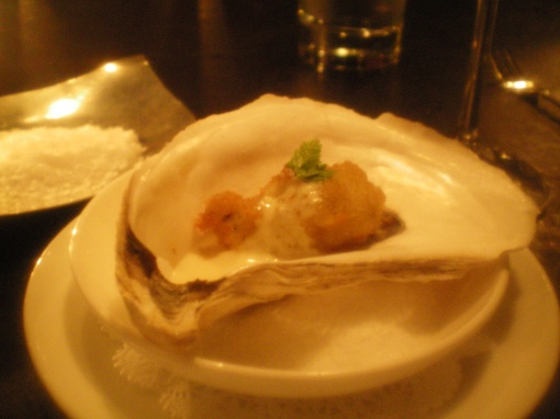 fried pemaquid oyster, horseradish sauce