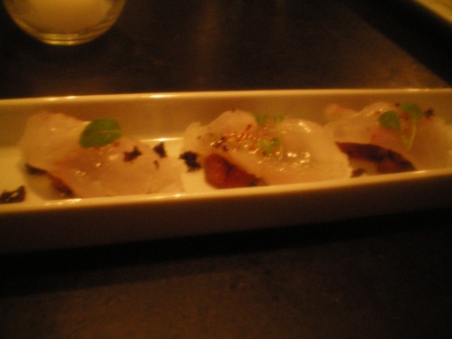 atlantic fluke crudo, petite panzanella, lemon olive oil, aleppo pepper