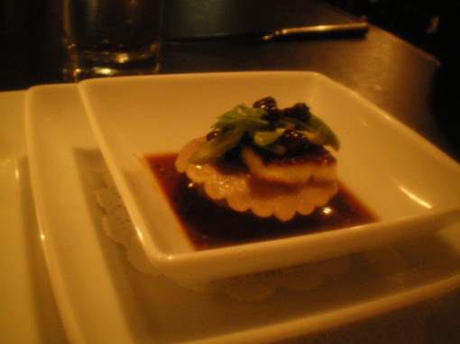 gedalias farm goat ravioli, fried halloumi, raisin puree