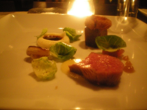 """beef ribs"", rib eye, short rib, potato puree, multiple="